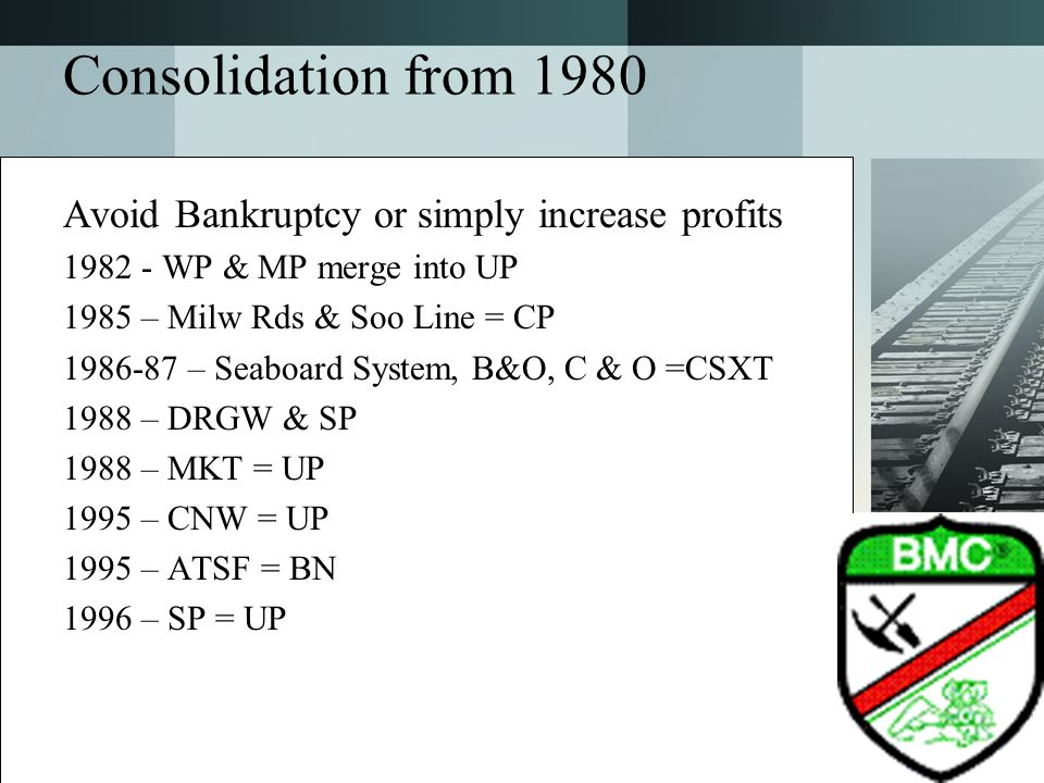 Consolidation from 1980 Avoid Bankruptcy or simply increase profits