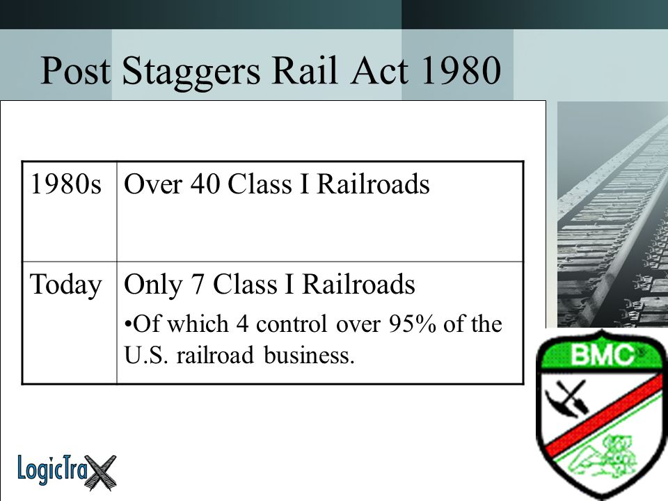 Post Staggers Rail Act 1980 1980s Over 40 Class I Railroads Today