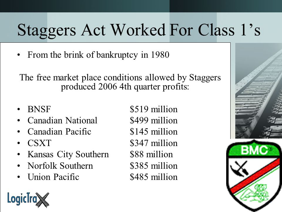 Staggers Act Worked For Class 1's