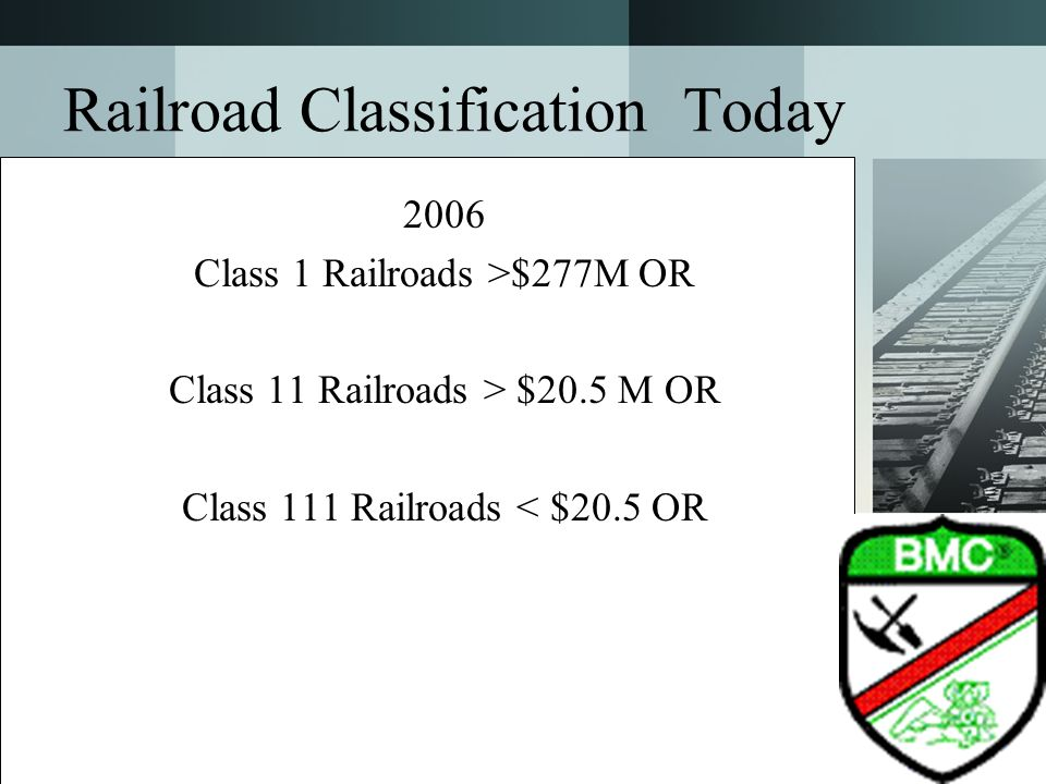 Railroad Classification Today