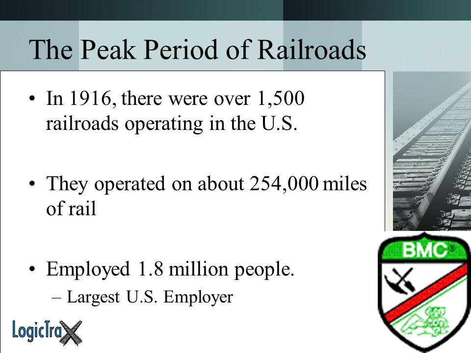 The Peak Period of Railroads