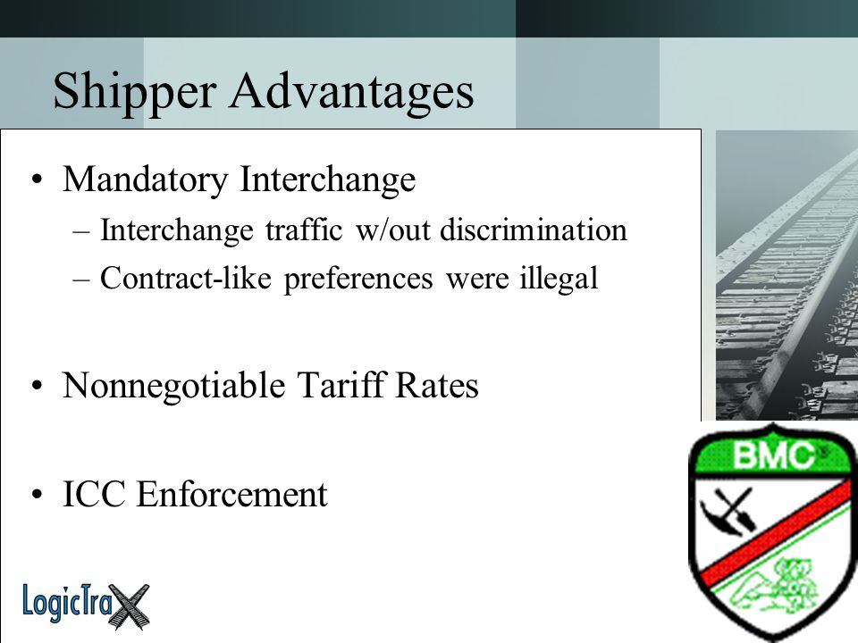 Shipper Advantages Mandatory Interchange Nonnegotiable Tariff Rates