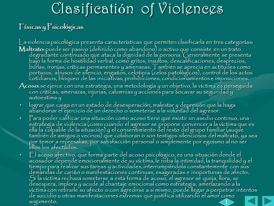 Clasificatión of Violences