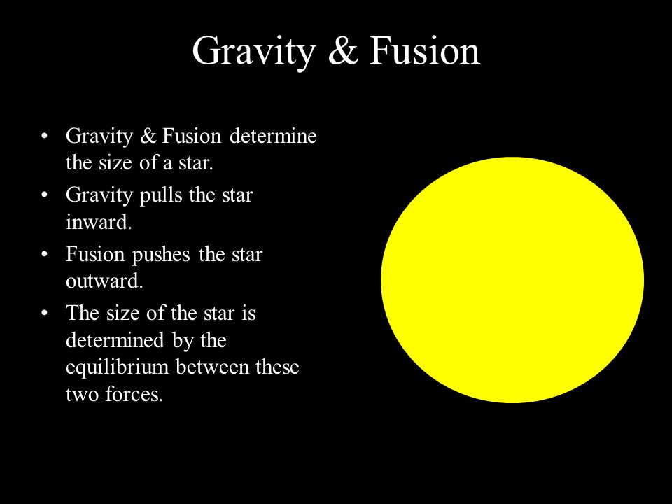 Gravity & Fusion Gravity & Fusion determine the size of a star.