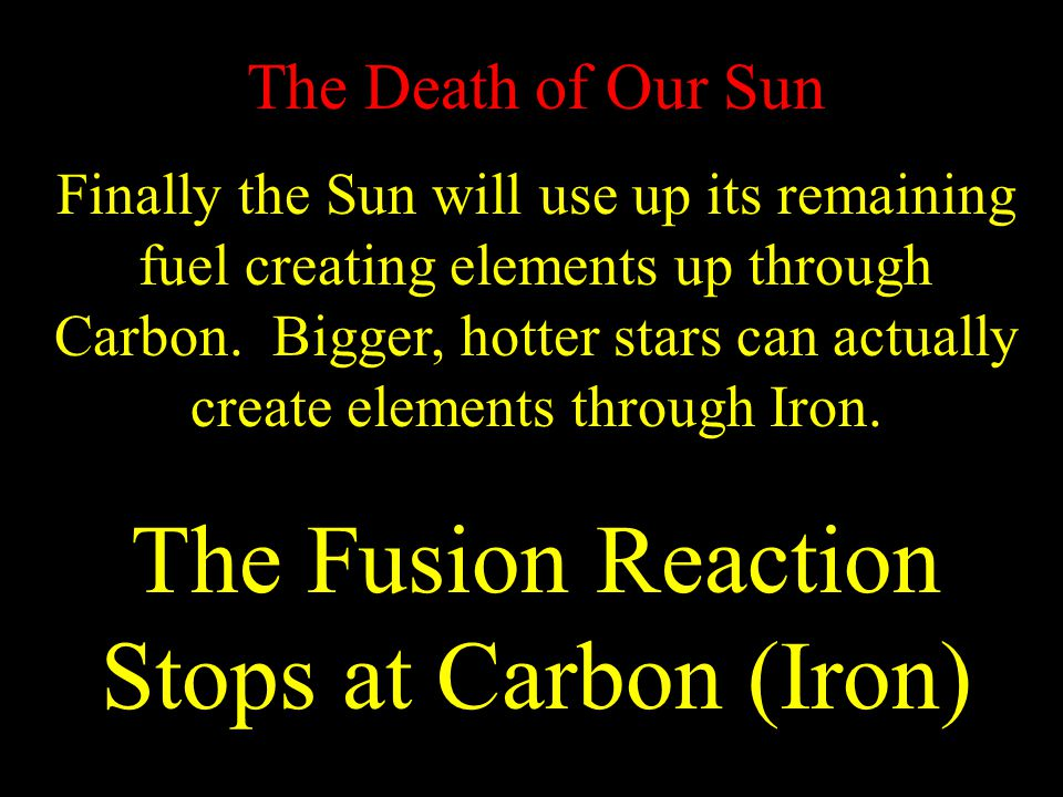 The Fusion Reaction Stops at Carbon (Iron)