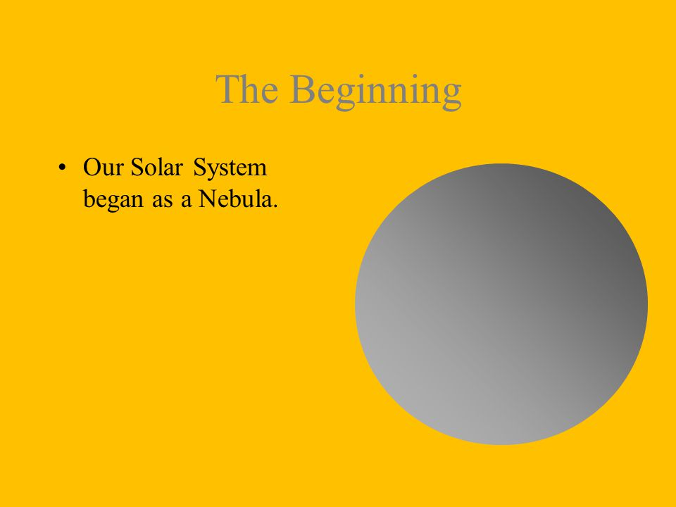 The Beginning Our Solar System began as a Nebula.