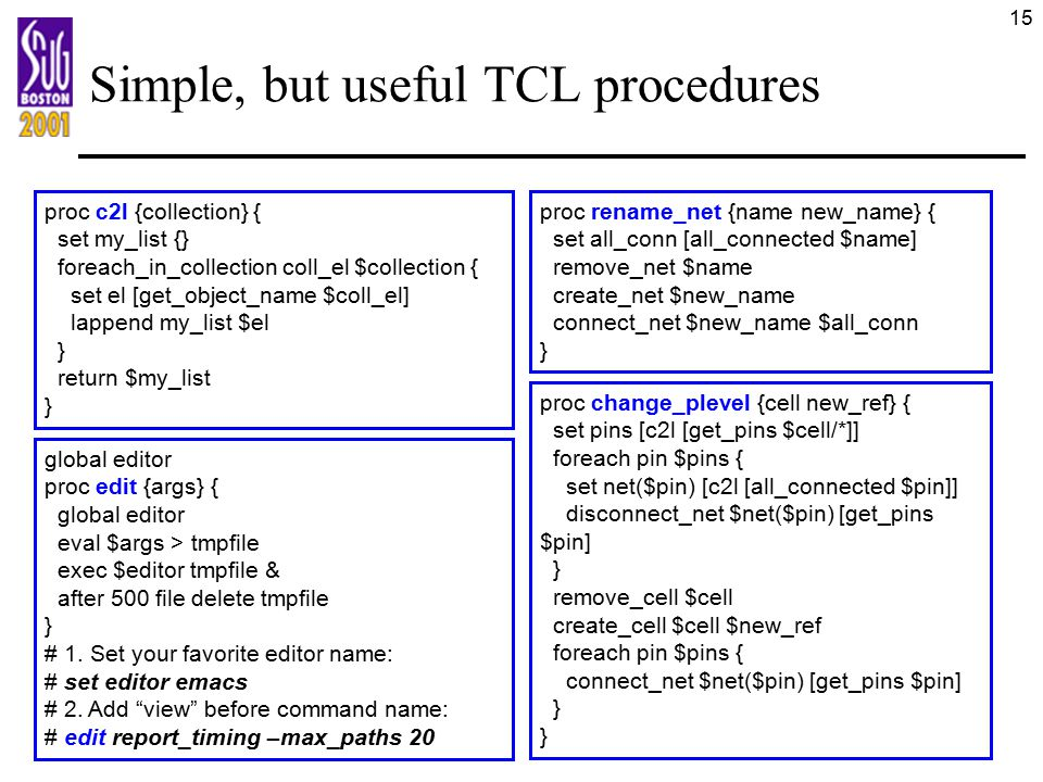 Simple, but useful TCL procedures