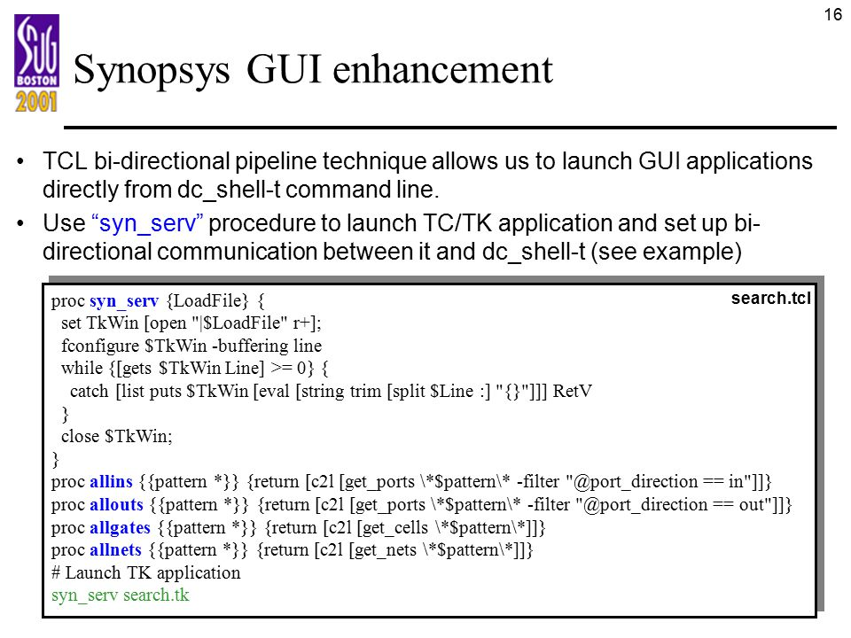 Synopsys GUI enhancement