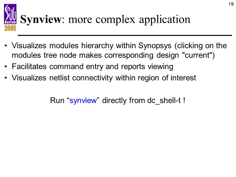 Synview: more complex application