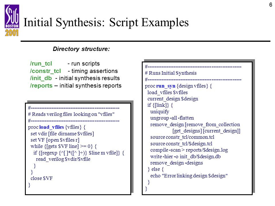 Initial Synthesis: Script Examples
