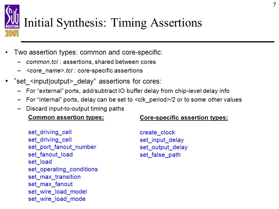 Initial Synthesis: Timing Assertions