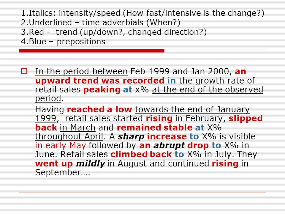 1. Italics: intensity/speed (How fast/intensive is the change. ) 2