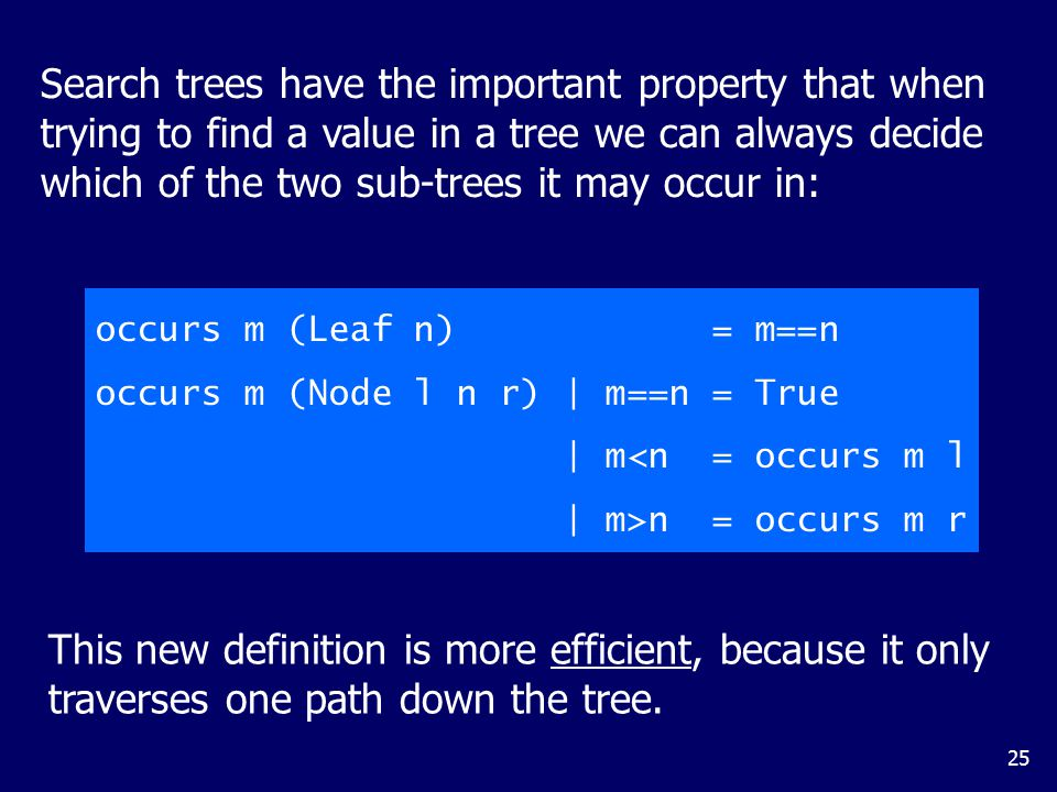 data Tree = Leaf Int | Node Tree Int Tree. deriving (Show, Eq) foldTree doNode doLeaf (Node left i right) =