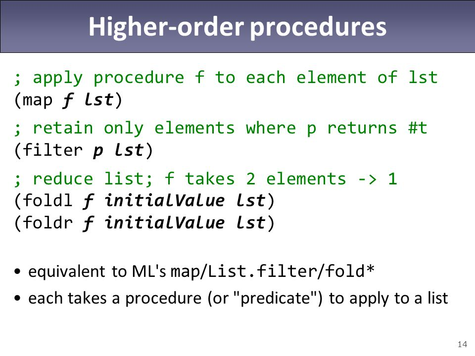 Higher-order procedures