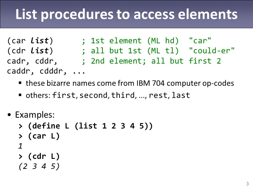 List procedures to access elements
