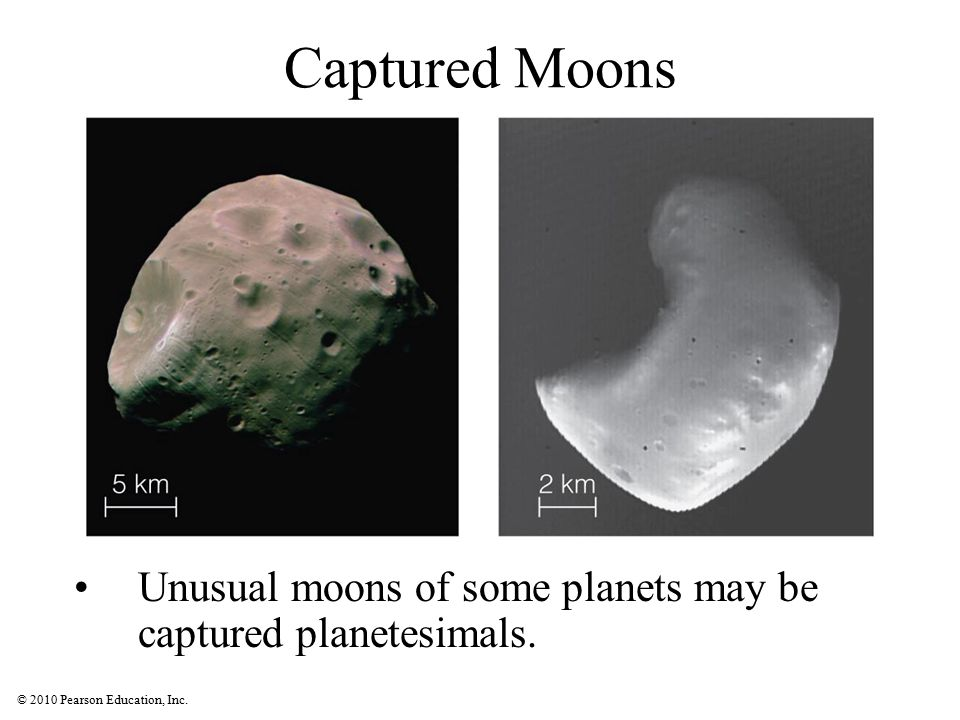 Captured Moons Unusual moons of some planets may be captured planetesimals.