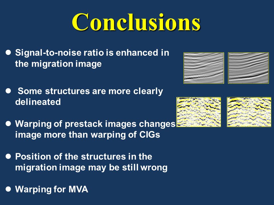 Conclusions Signal-to-noise ratio is enhanced in the migration image