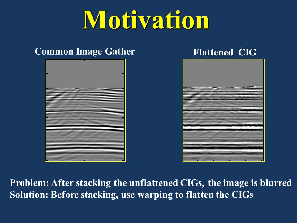 Motivation Common Image Gather Flattened CIG