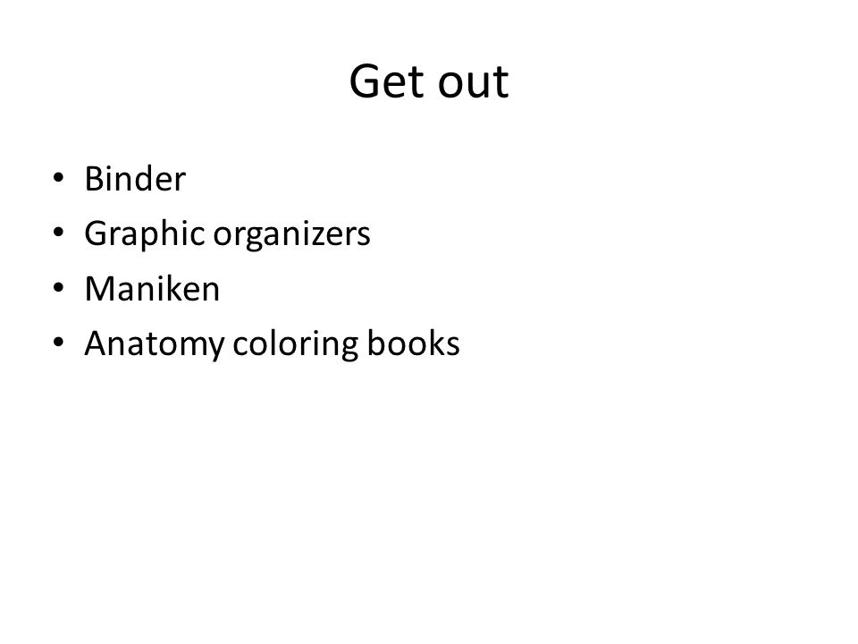 Get out Binder Graphic organizers Maniken Anatomy coloring books