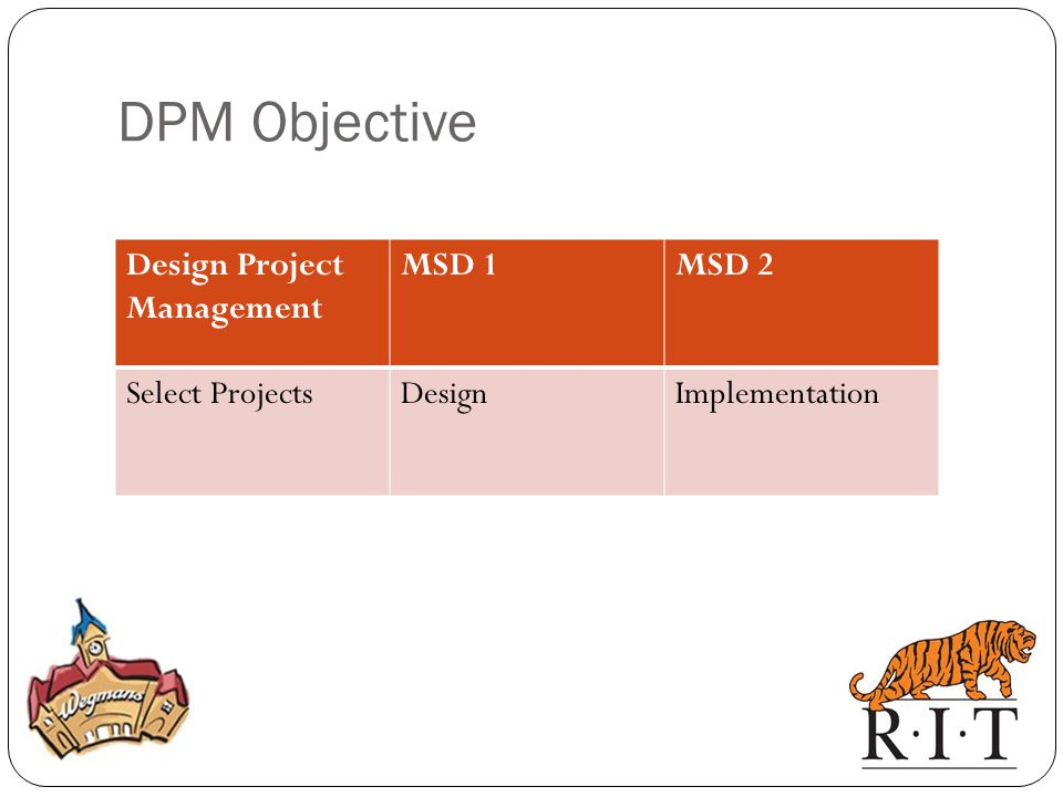 DPM Objective Design Project Management MSD 1 MSD 2 Select Projects