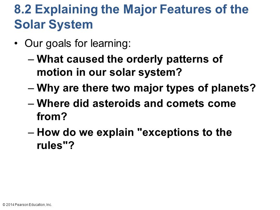 8.2 Explaining the Major Features of the Solar System