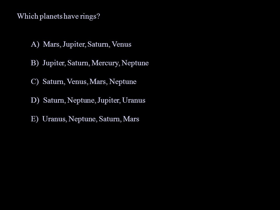 Which planets have rings