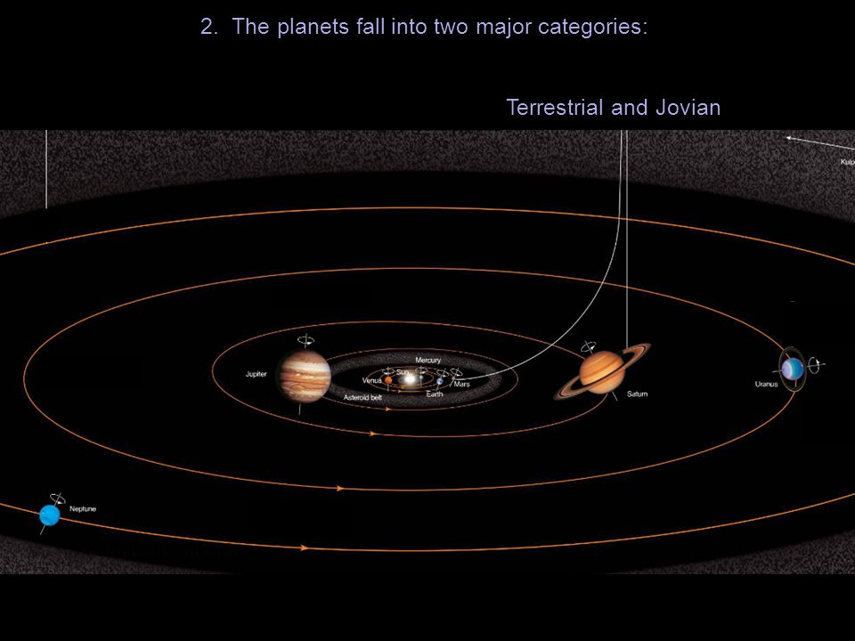 2. The planets fall into two major categories: