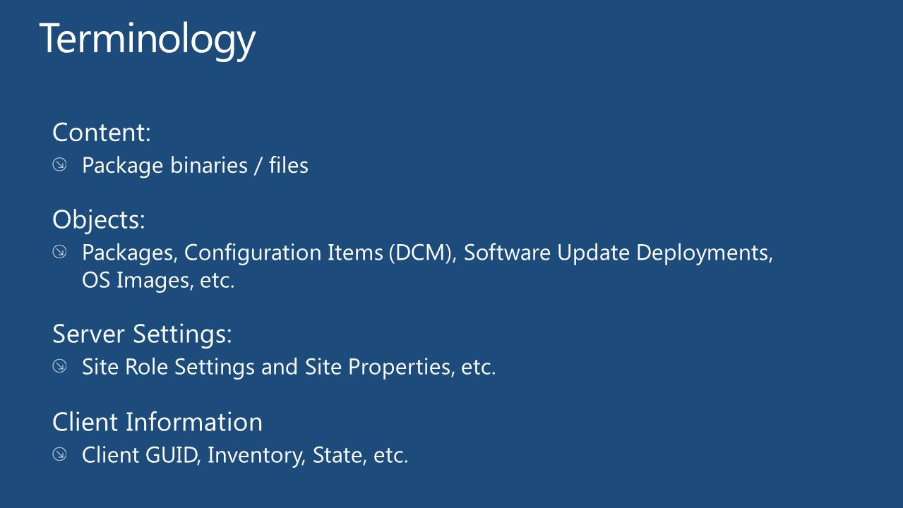 Terminology Content: Objects: Server Settings: Client Information