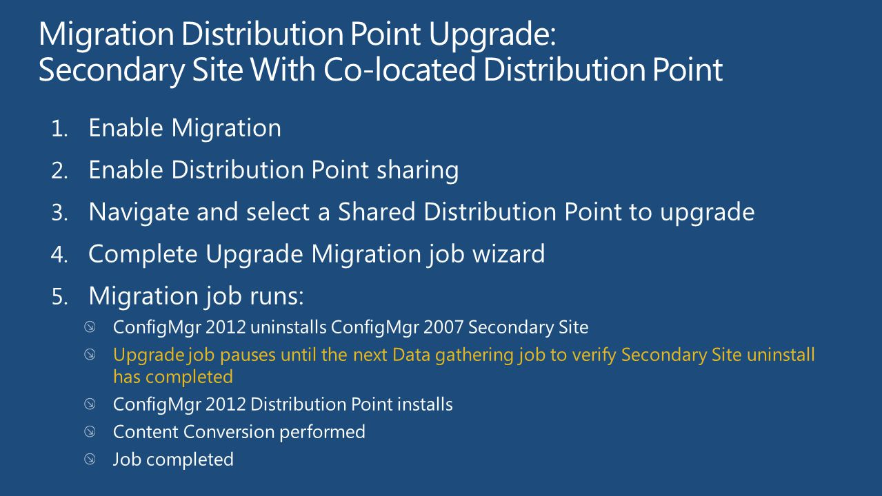 Migration Distribution Point Upgrade: Secondary Site With Co-located Distribution Point