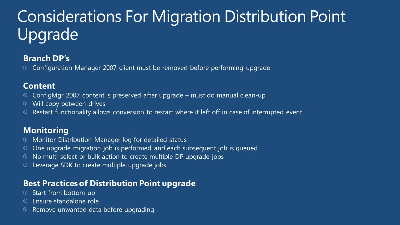 Considerations For Migration Distribution Point Upgrade