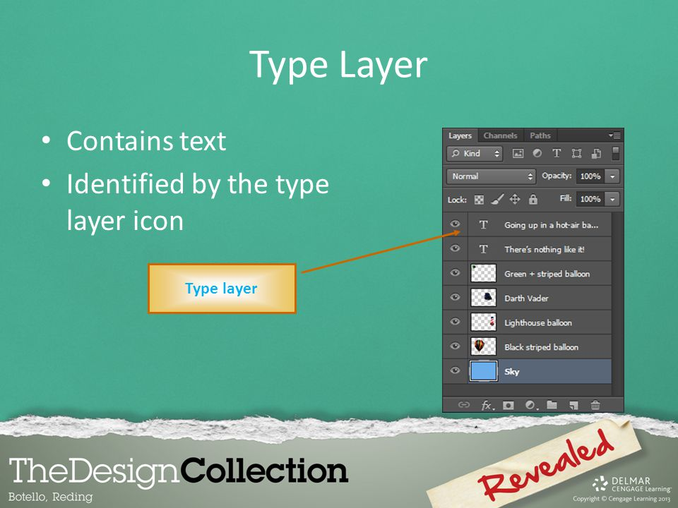 Type Layer Contains text Identified by the type layer icon Type layer