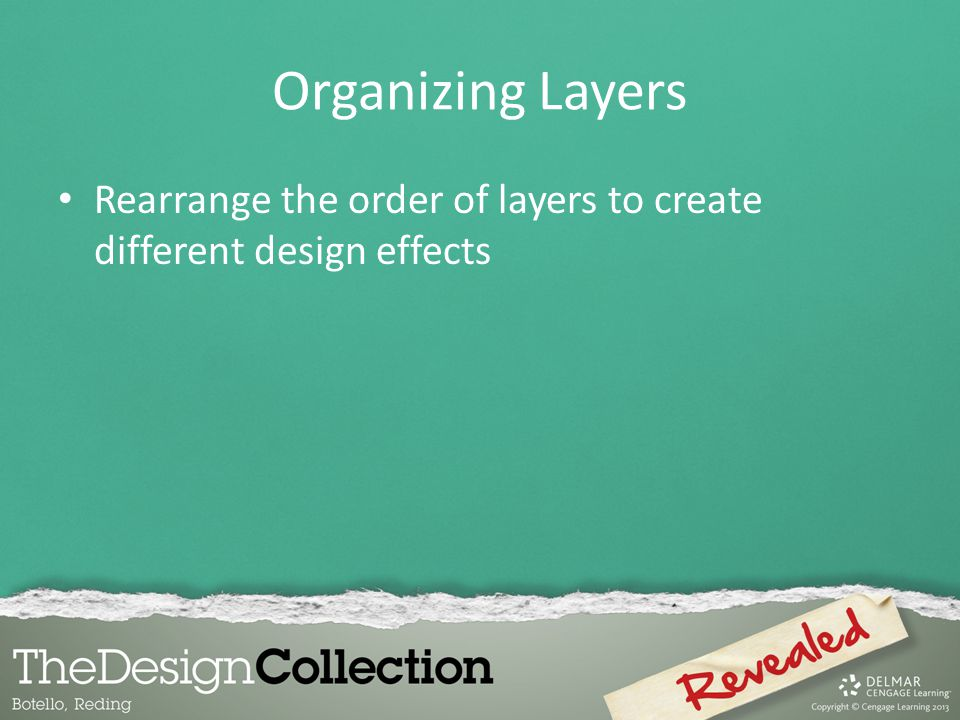 Organizing Layers Rearrange the order of layers to create different design effects