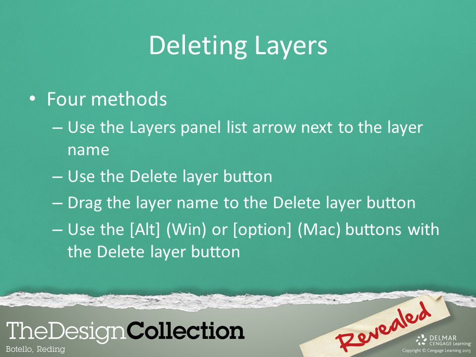 Deleting Layers Four methods