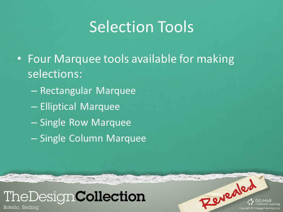 Selection Tools Four Marquee tools available for making selections: