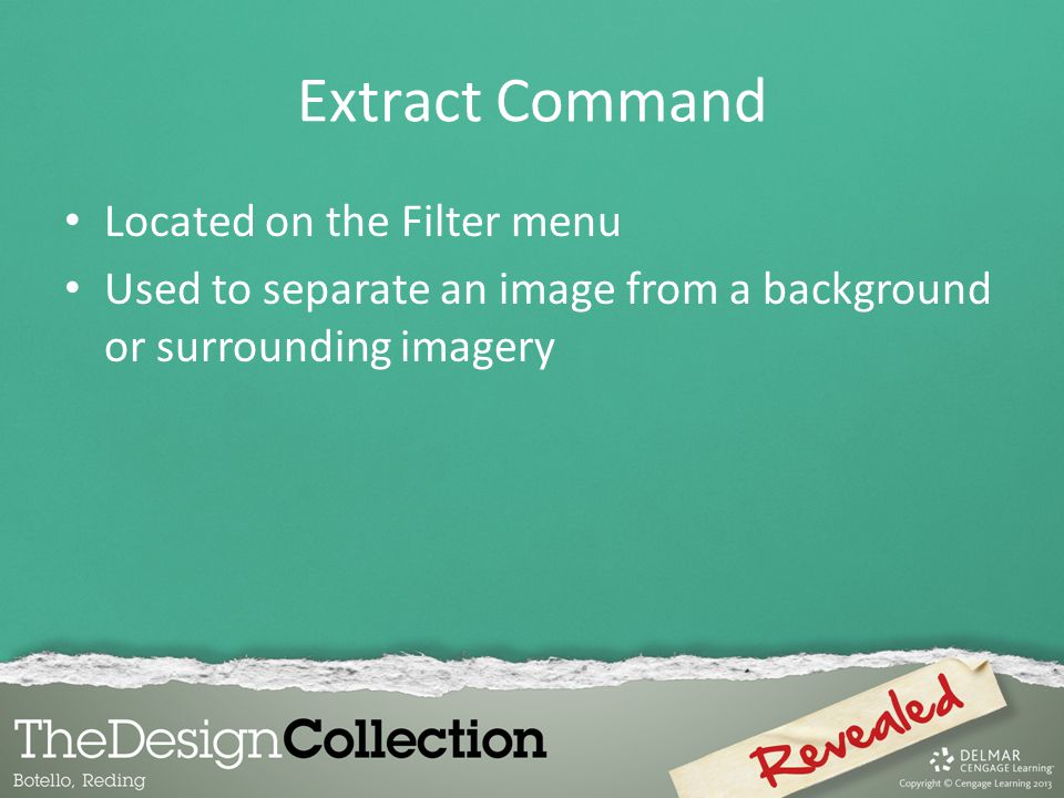 Extract Command Located on the Filter menu
