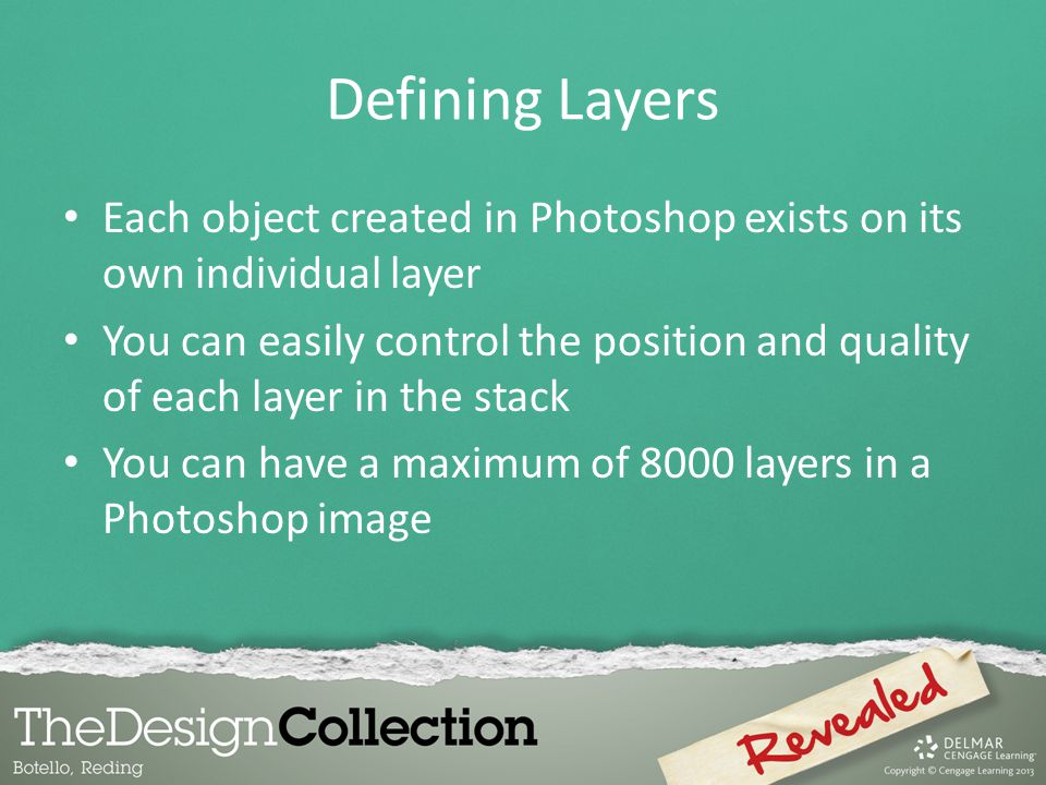 Defining Layers Each object created in Photoshop exists on its own individual layer.