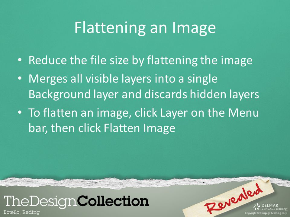 Flattening an Image Reduce the file size by flattening the image