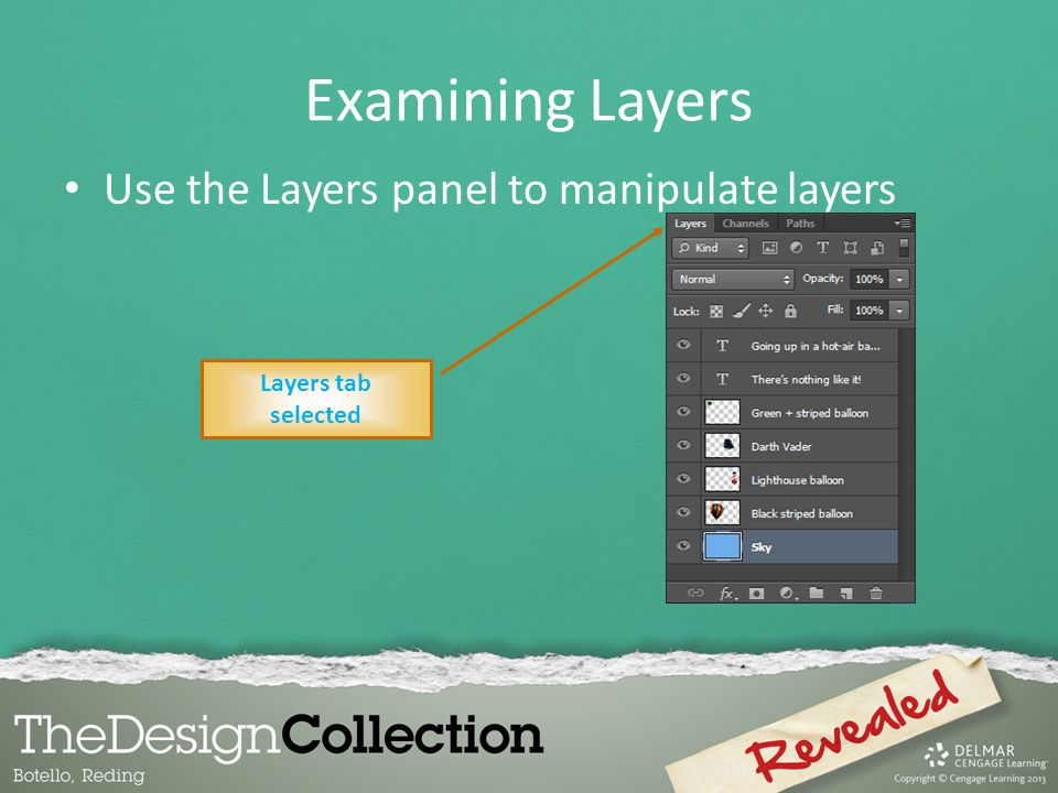 Examining Layers Use the Layers panel to manipulate layers