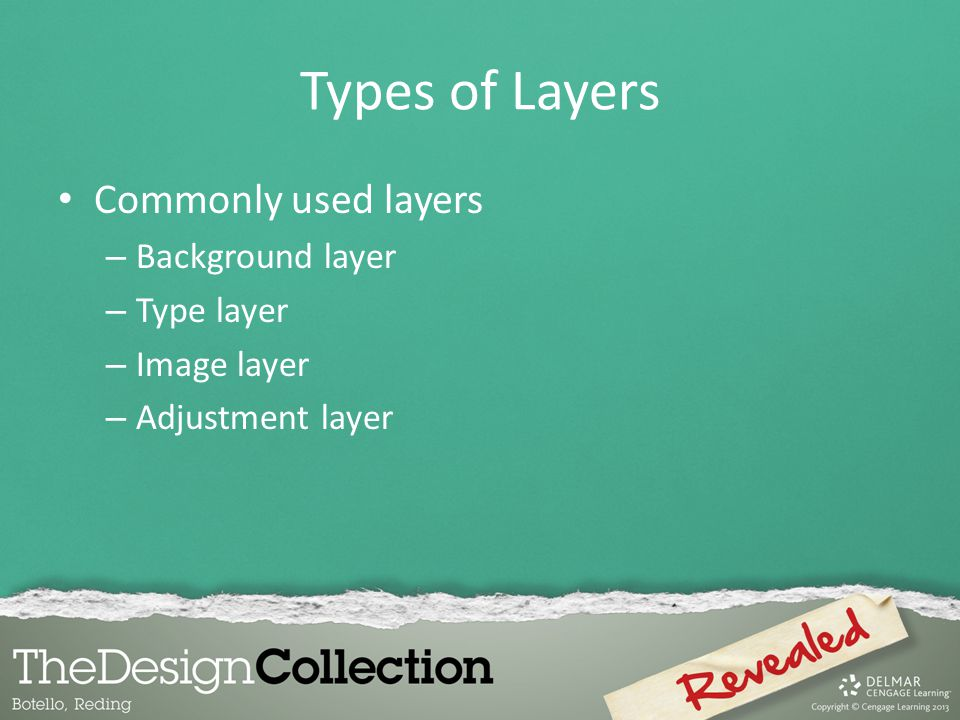 Types of Layers Commonly used layers Background layer Type layer