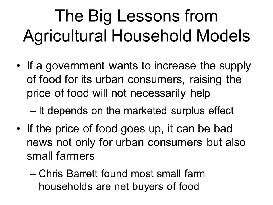 The Big Lessons from Agricultural Household Models