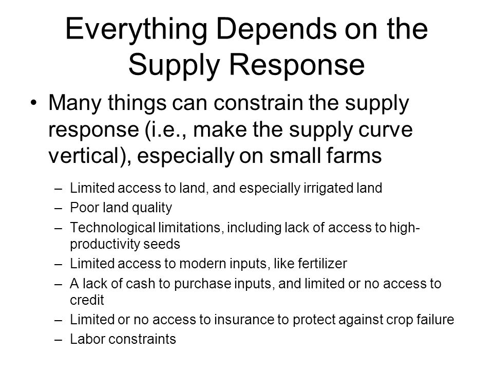 Everything Depends on the Supply Response