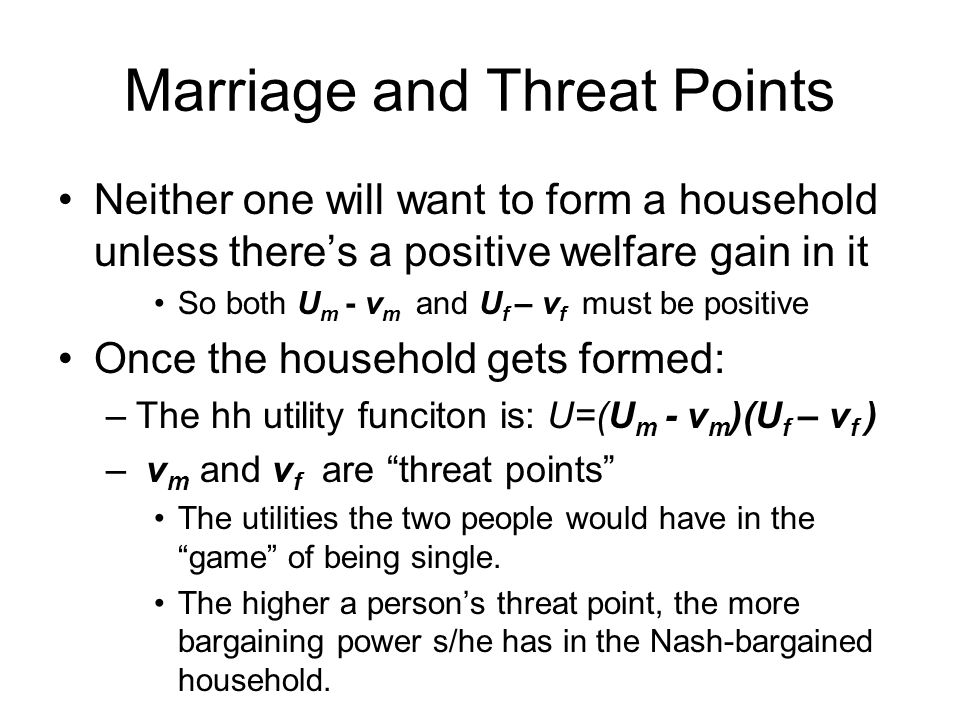 Marriage and Threat Points