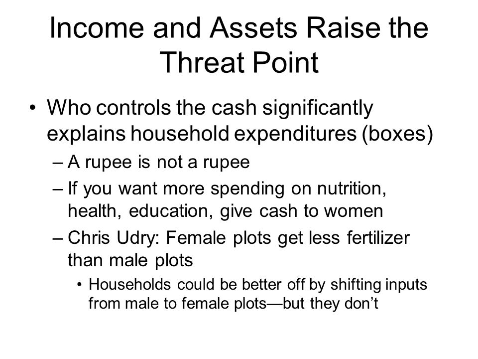 Income and Assets Raise the Threat Point