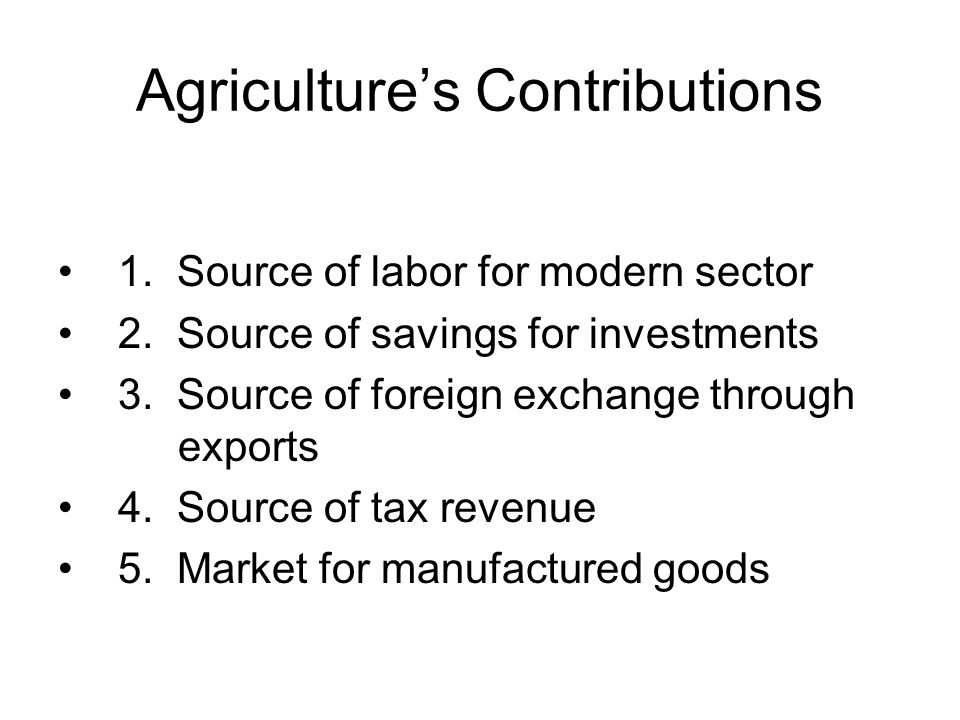 Agriculture's Contributions