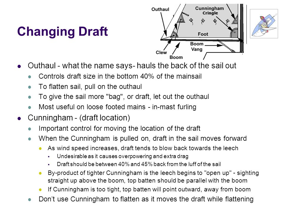 Changing Draft Outhaul - what the name says- hauls the back of the sail out. Controls draft size in the bottom 40% of the mainsail.