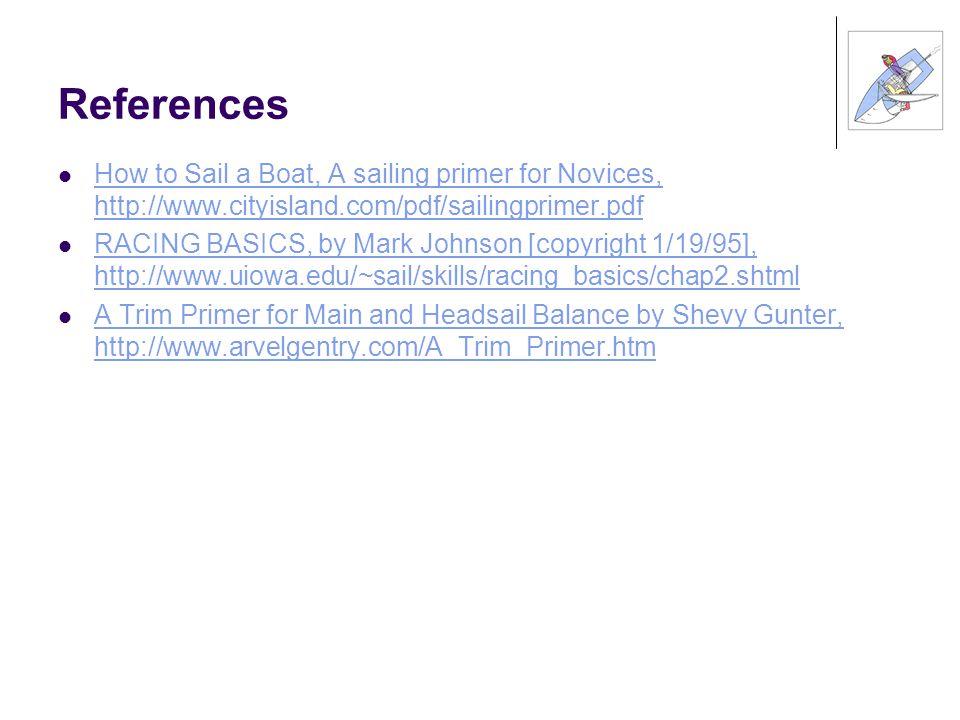 References How to Sail a Boat, A sailing primer for Novices, http://www.cityisland.com/pdf/sailingprimer.pdf.