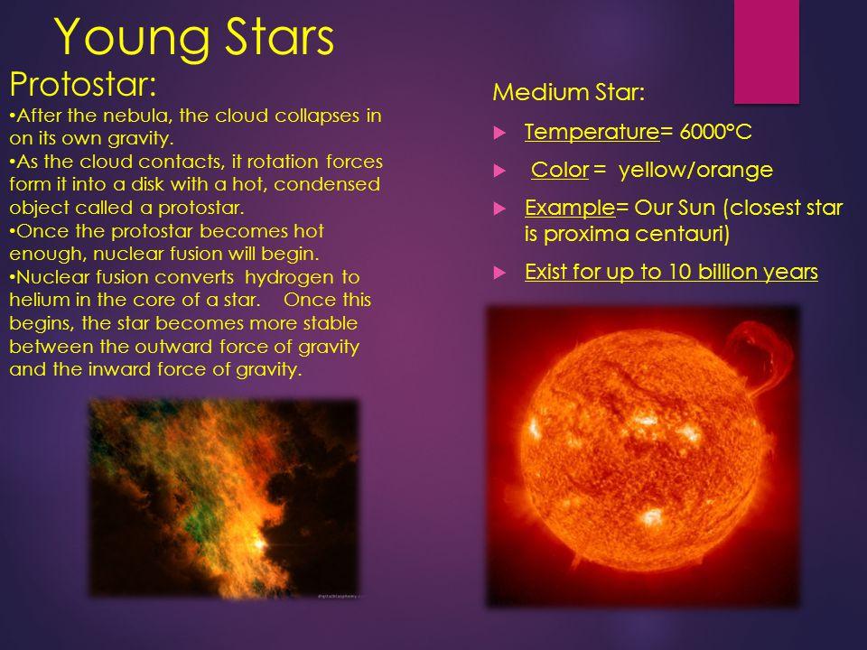 Young Stars Protostar: Medium Star: Temperature= 6000°C