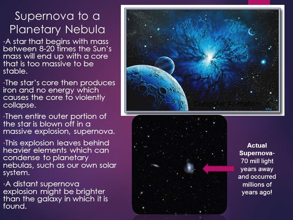 Supernova to a Planetary Nebula