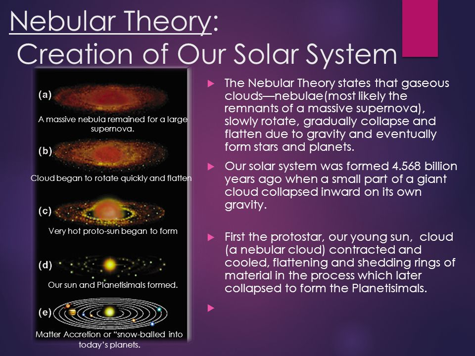 Nebular Theory: Creation of Our Solar System
