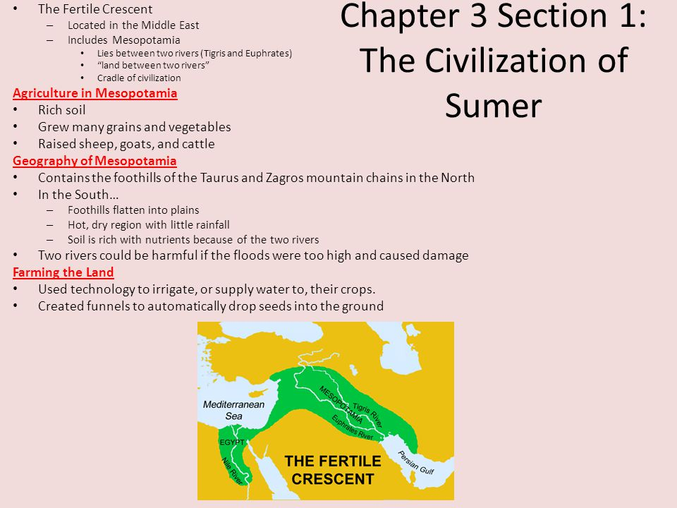 Chapter 3 Section 1: The Civilization of Sumer